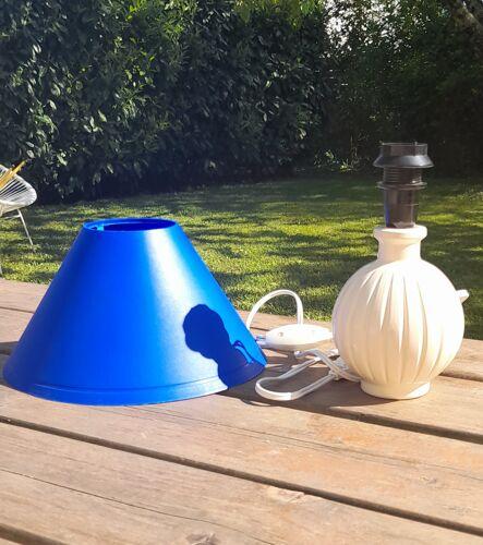 Petite lampe de chevet ceramique strié, écru