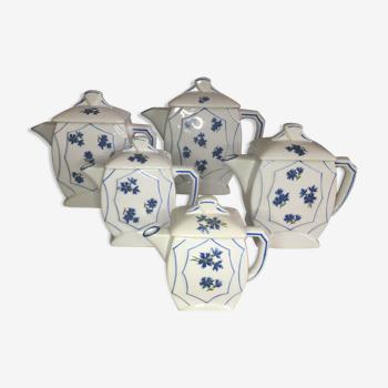 Ensemble de 5 cafetières modèle bleuets