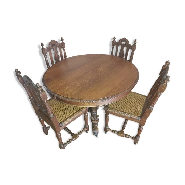 Table salle à manger avec rallonge et 4 chaises