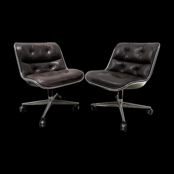 Paire de fauteuils de Charles Pollock Marrons édition Knoll 60