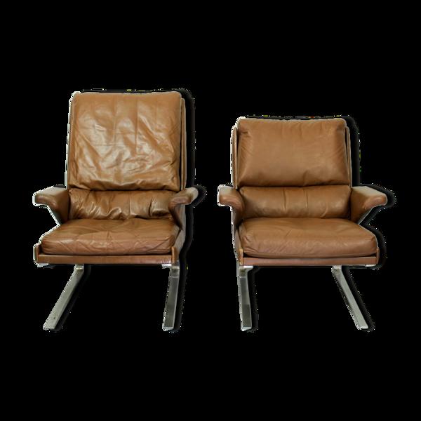 Paire de fauteuils Cor swing en cuir par Reinhold Adolf années 1960