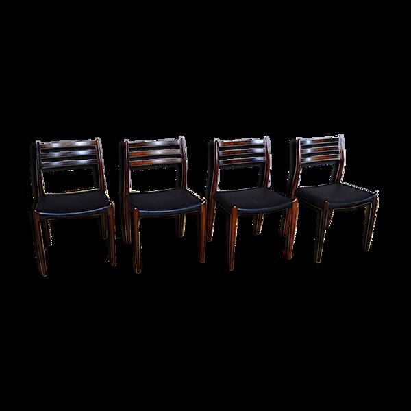 4 chaises danoise en palissandre de rio Niels O. Moller 1962