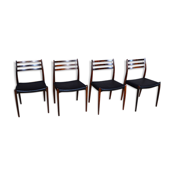Selency 4 chaises danoise en palissandre de rio Niels O. Moller 1962