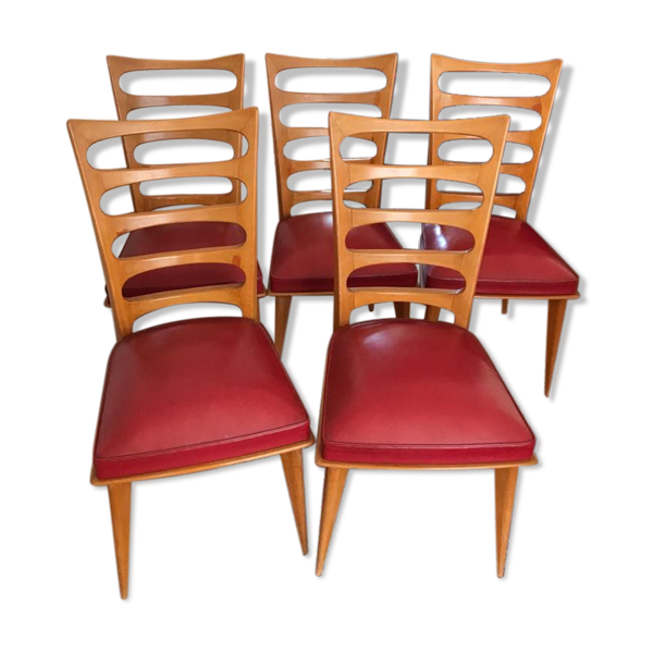 Chaises en merisier vintage assise simili cuir rouge