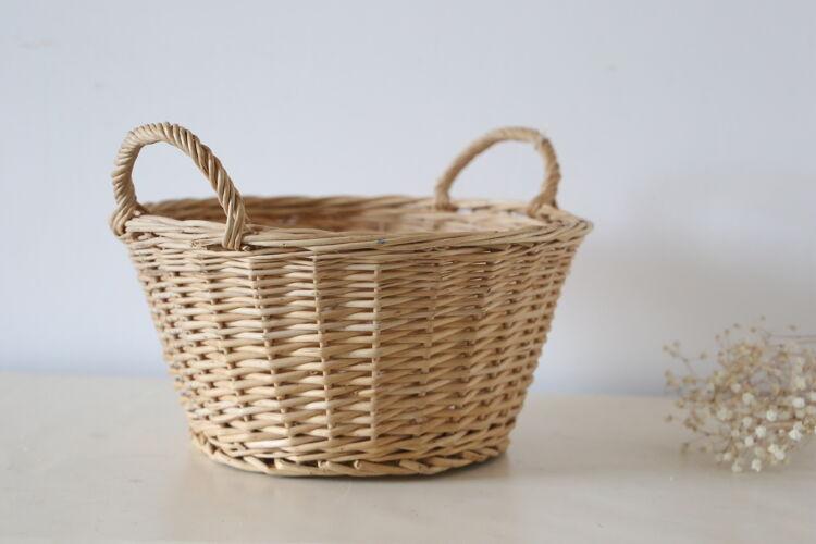 Panier en osier avec deux poignées, vintage, français