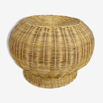 Braided wicker pouf from the 70s