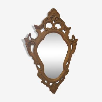 Miroir baroque bois et stuc doré 44x68cm