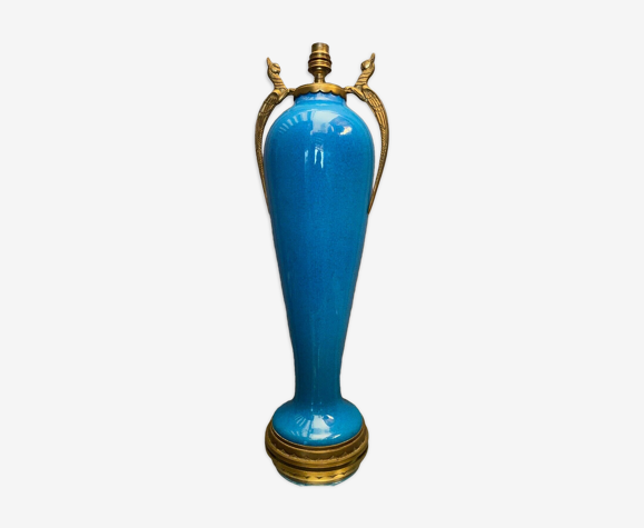 Lamp foot in blue porcelain type Sèvres bronze frame early twentieth century