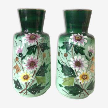 Paire de vases en verre Début XXeme