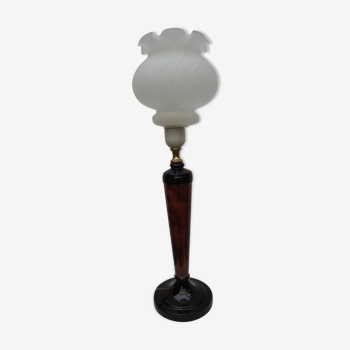 Lampe de table style art déco en bois de couleur noyer