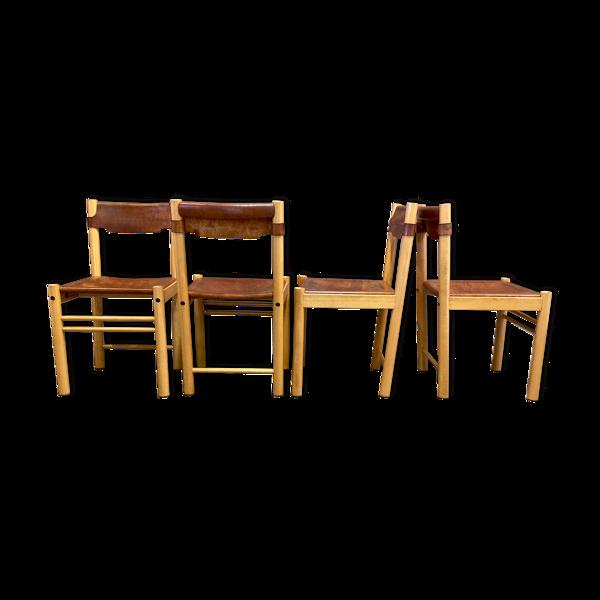 Selency Ensemble de quatre chaises cuir Sede pour Ibisco 1960.