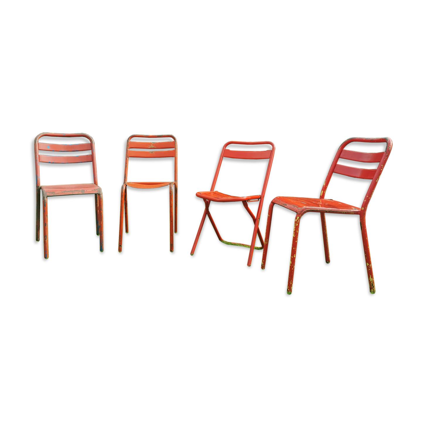 Ensemble de 4 chaises bistrot Tolix