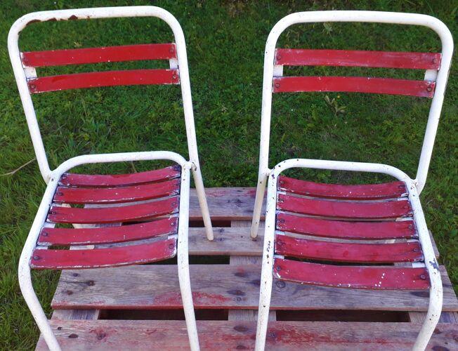 Duo de chaises Tolix  assise bois