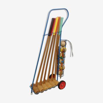 Jeu de croquet vintage avec chariot