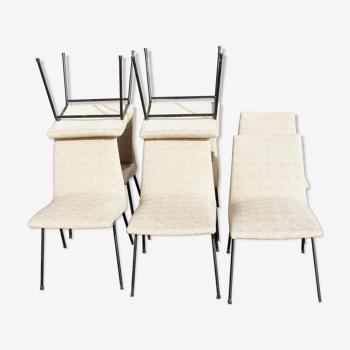 Lot de 8 chaises de Pierre Paulin série meubles TV 1954