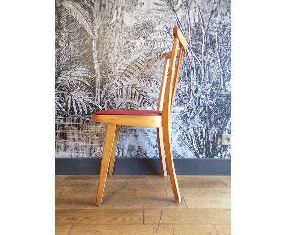 Chaise vintage skaï rouge