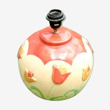 Pied de lampe Importante boule céramique à décor de tulipe