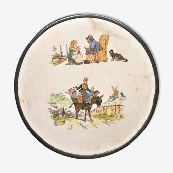 Ancien dessous de plat rond sarreguemines enfants richard dv ~ 1920