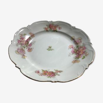 Plat creux porcelaine fleurie Limoges liseré or
