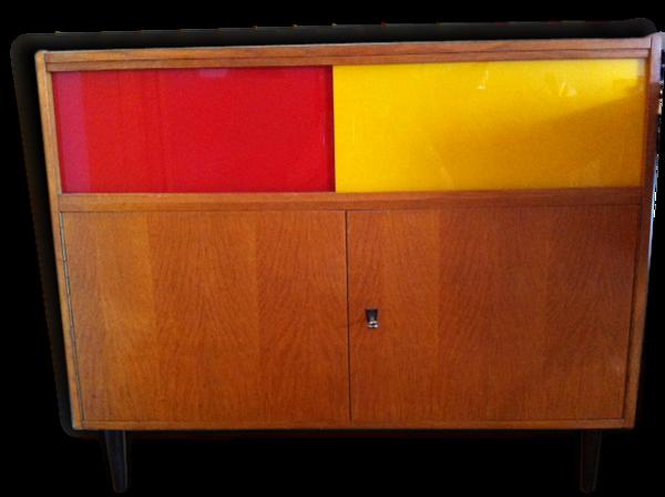 Enfilade rouge et jaune années 50
