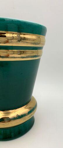 Vase vintage en céramique vert et filets or signé ARC FRANCE - Années 1950.