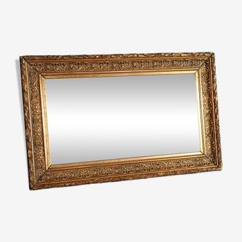 Miroir dans cadre XIXe siècle bois stuc doré 43,5x27,5 cm SB