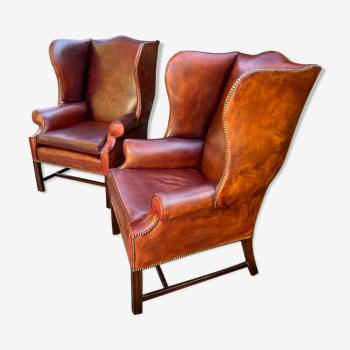 Vintage shepherdess armchairs in leather