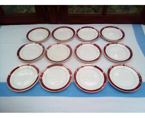 12 assiettes à dessert Rubis / Digoin