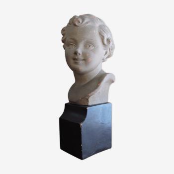 Sculpture buste chérubin signé Madem