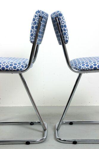 Chaises tubulaires de salle à manger de Chrome