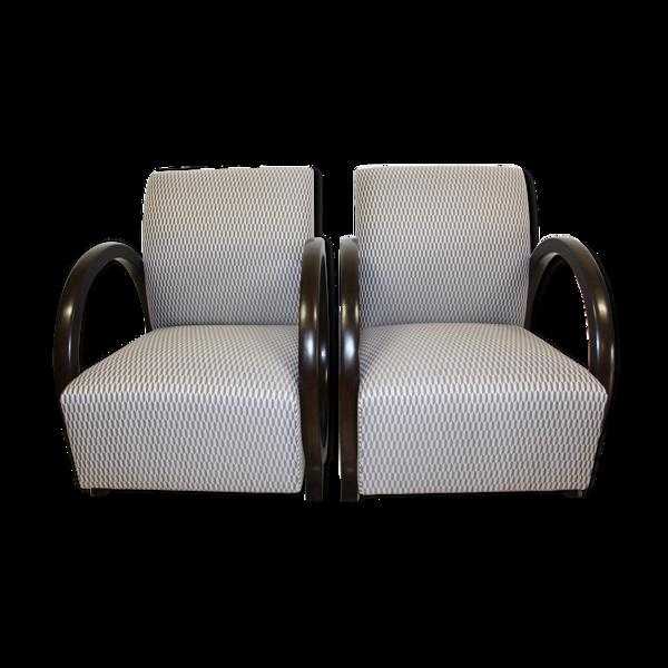 Selency Paire de fauteuils art deco laqué