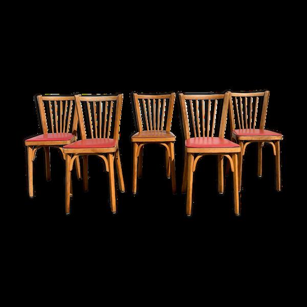 Ensemble de 5 chaises bistrot Baumann n°12