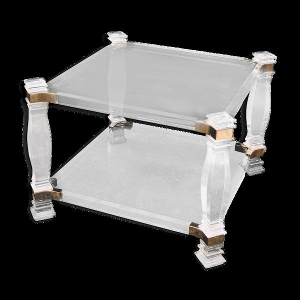 Selency Table basse en lucite et verre