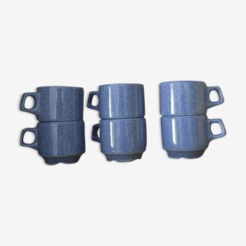 Tasses à café en grès bleu moucheté