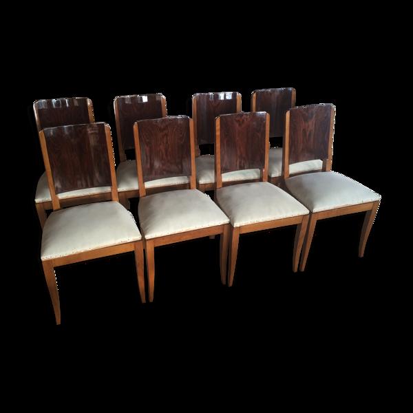 Suite de huit chaises Art Deco en palissandre