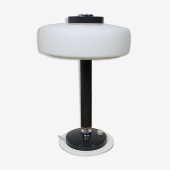 Lampe de table noire et blanche rare du milieu du siècle Napako années 1960