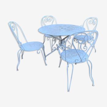 Table ancienne en fer forgé 2 chaises et 2 fauteuils