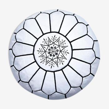 Moroccan Pouf White Black Thread