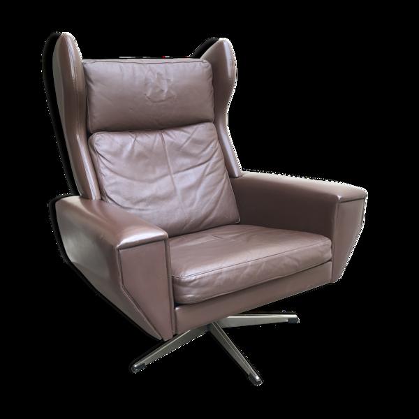 Selency Fauteuil lounge scandinave en cuir vintage