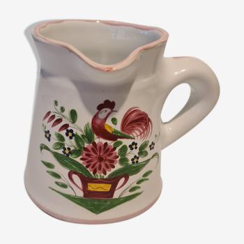 Earthenware milk pot La Chapelle des Pots floral décor and Rooster