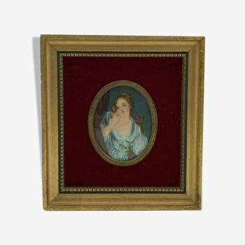 Miniature peinte a la main  XX eme femme coste d'epoque cadre bois velours