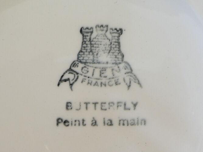 Service a cake gateau en Faiences de Gien modele Butterfly