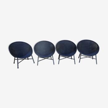 Lot 4 fauteuils en rotin vintage