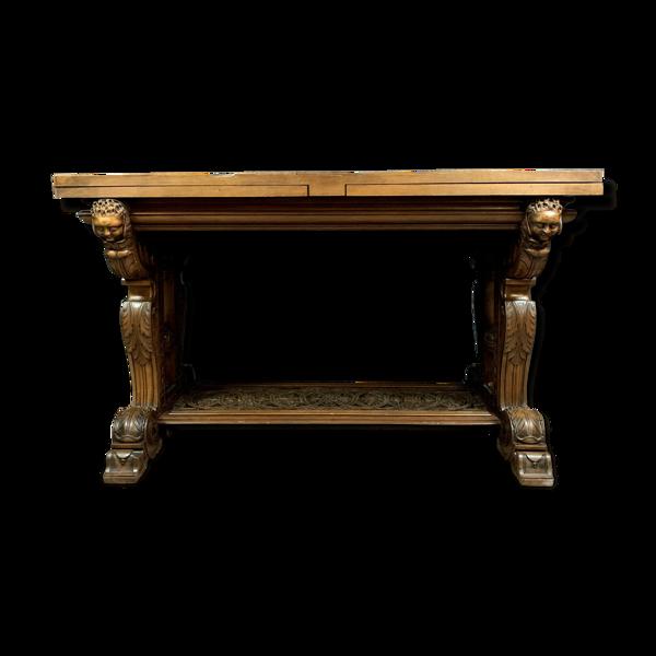 Table Renaissance en noyer massif avec plateau à allonges