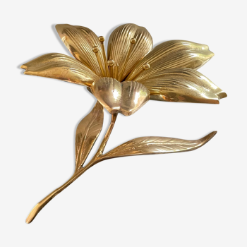 Cendrier fleur en laiton doré