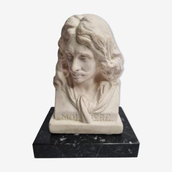 Buste de Molière en plâtre ciré sur socle en marbre 14 cm