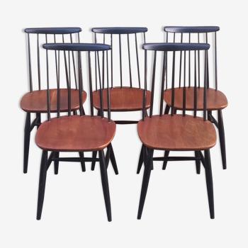 Set de 5  chaises scandinave Fanett d'Ilamri Tapiovaara