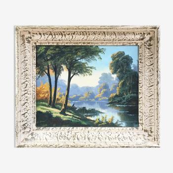 Tableau ancien arbres et lac