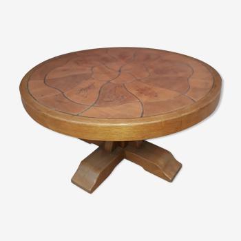 Table basse bois et céramique signée Barrois