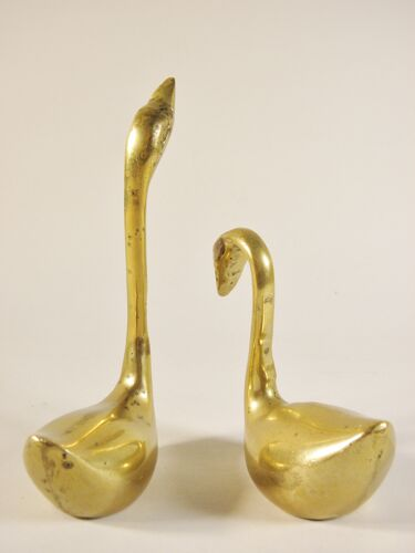 Couple de cygnes en laiton